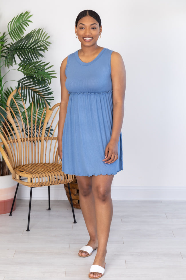 Admire Your Beauty Ribbed Blue Tank Dress