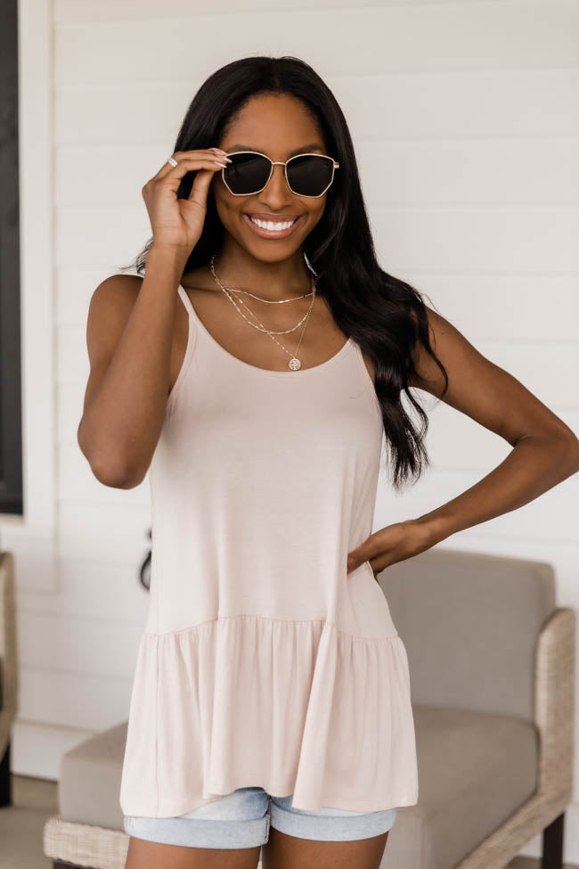 Enchant A Moment Peplum Taupe Tank