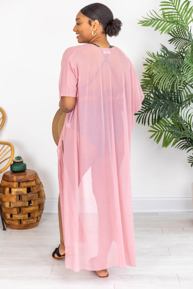 Off The Clock Duster Mesh Mauve Cover Up