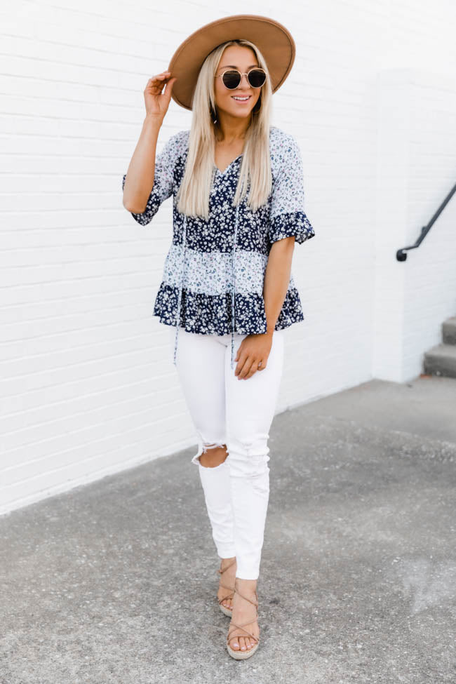It Doesn't Matter Floral Print Navy Blouse