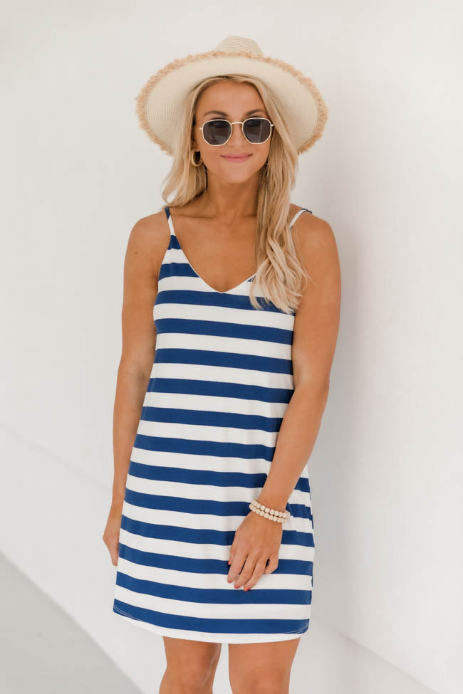 A New found Love Striped Swing Blue Dress