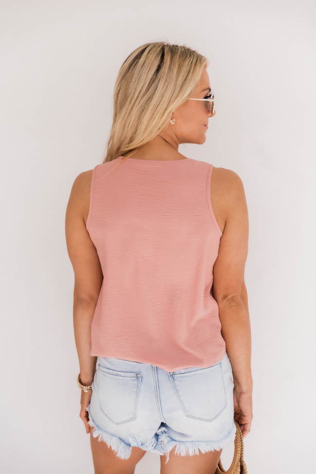 My Only Reason Button Tie Up Peach Tank