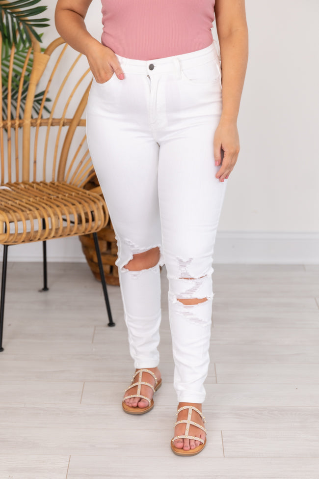 Everly Distressed White Skinny Jeans