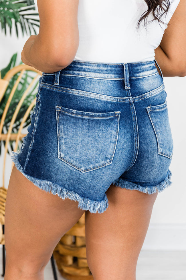 Backroad Songs Distressed High Waisted Dark Wash Shorts