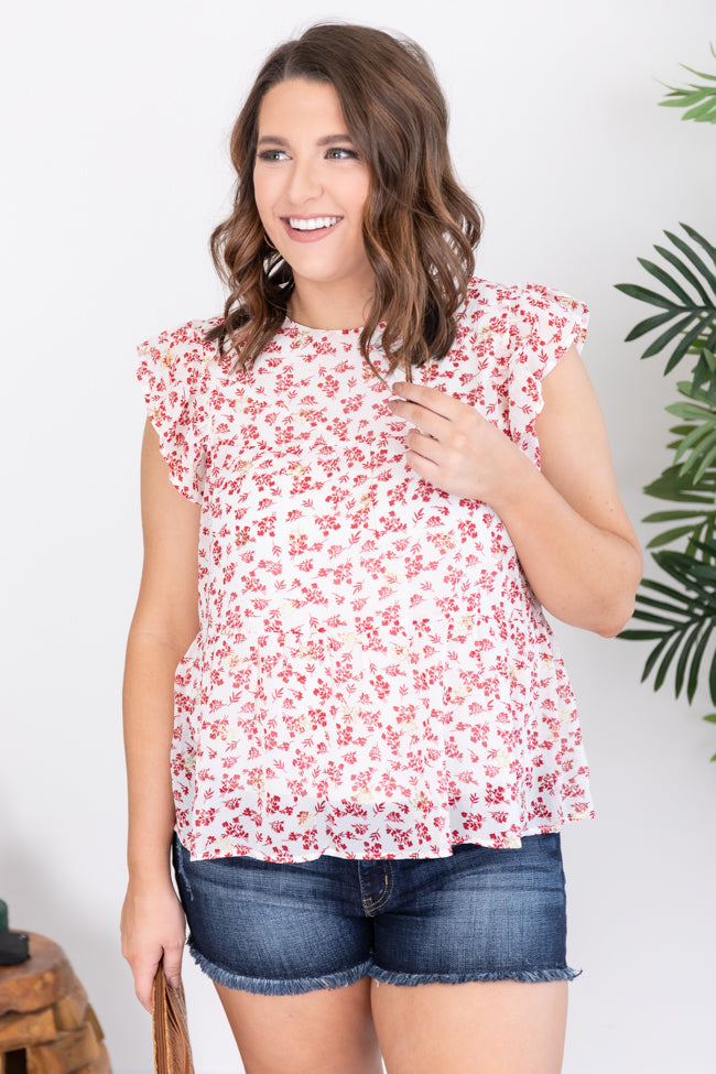 Unique To This Love Ivory/Red Floral Blouse
