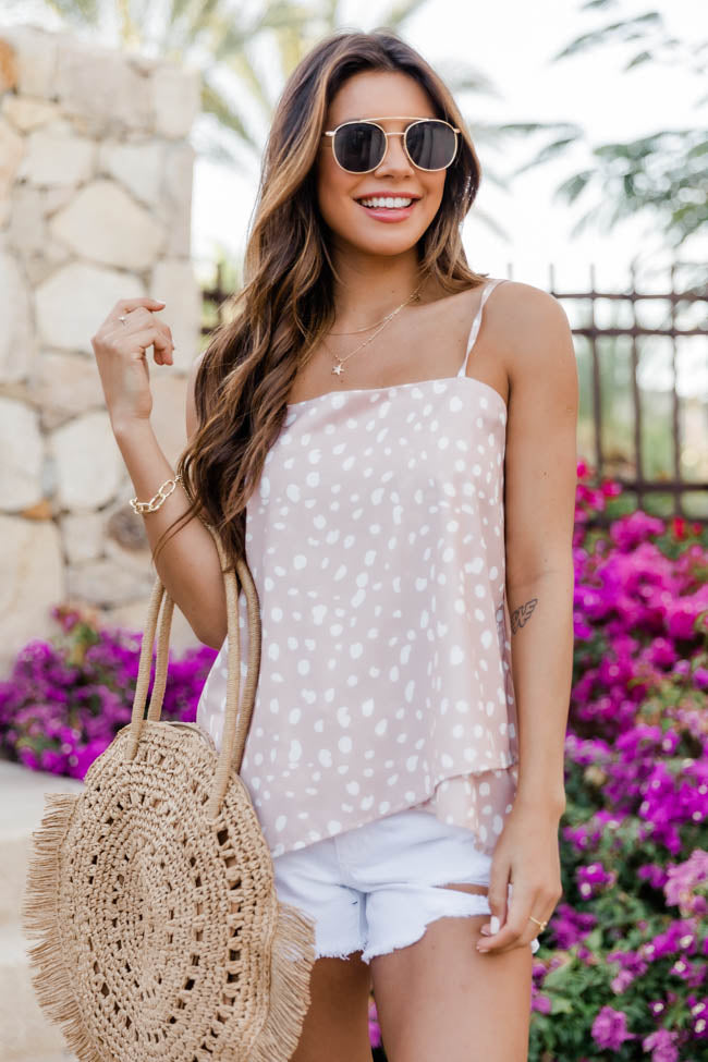 Lovely Intuition Spotted Asymmetrical Taupe Tank