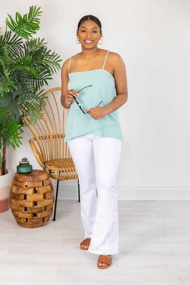 Lovely Intuition Asymmetrical Mint Tank