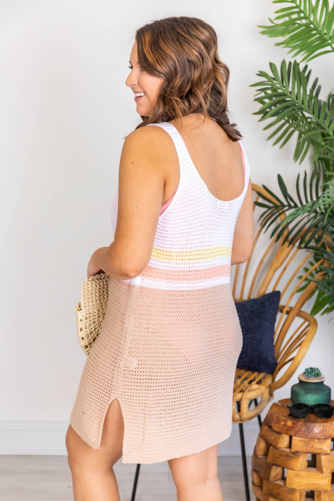Sailing The Sea Knitted Tank Ivory/Taupe Cover Up