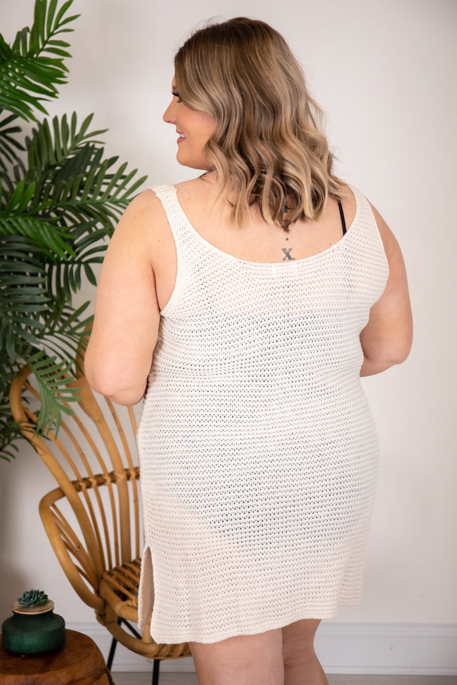 Sailing The Sea Knitted Tank Ivory Cover Up