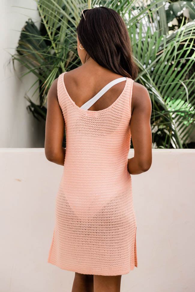 Sailing The Sea Knitted Tank Coral Cover Up
