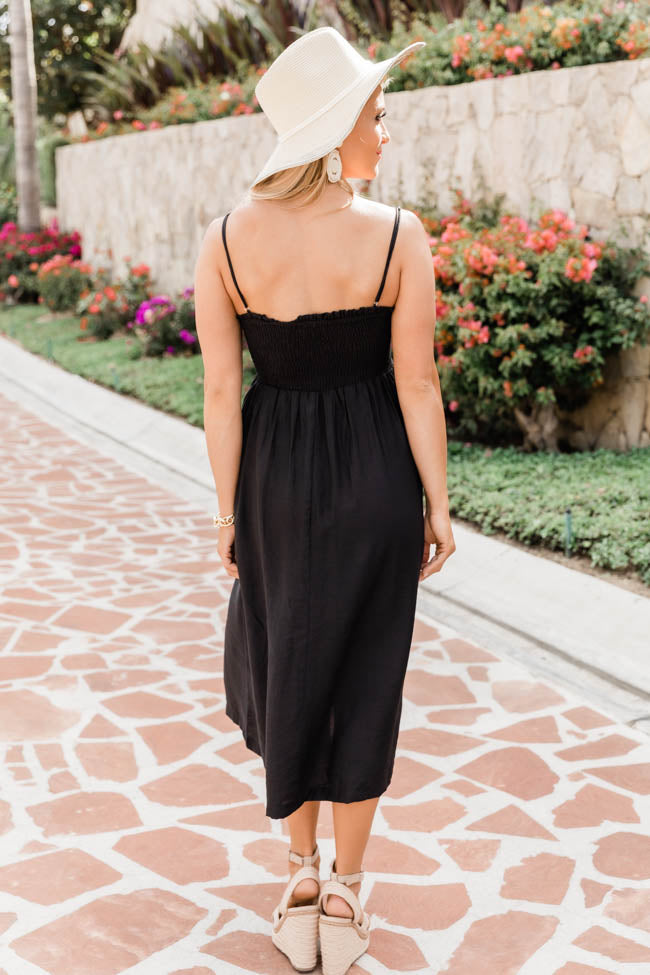 New Beginnings Midi Black Dress