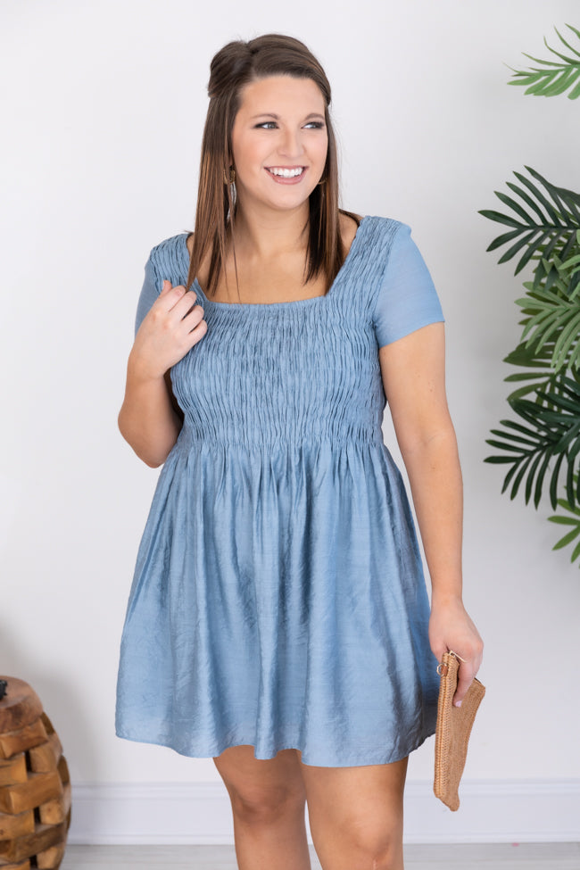 A Fair Compromise Square Neck Smocked Blue Dress