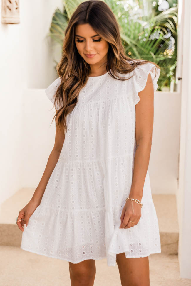 Mindless Dreaming Ivory Eyelet Dress