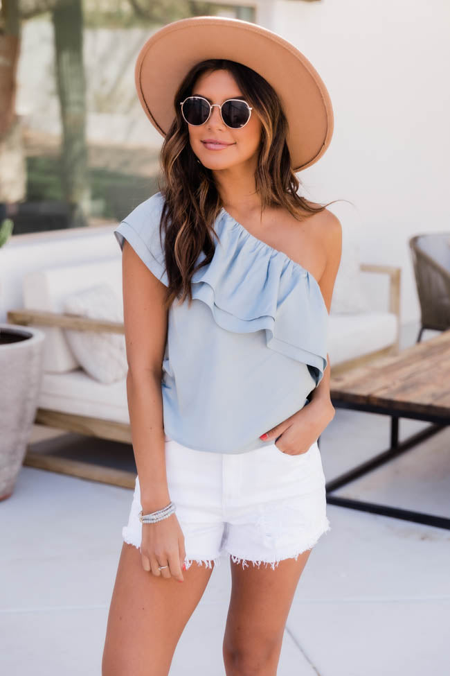 Only Other Memory One Shoulder Blue Blouse