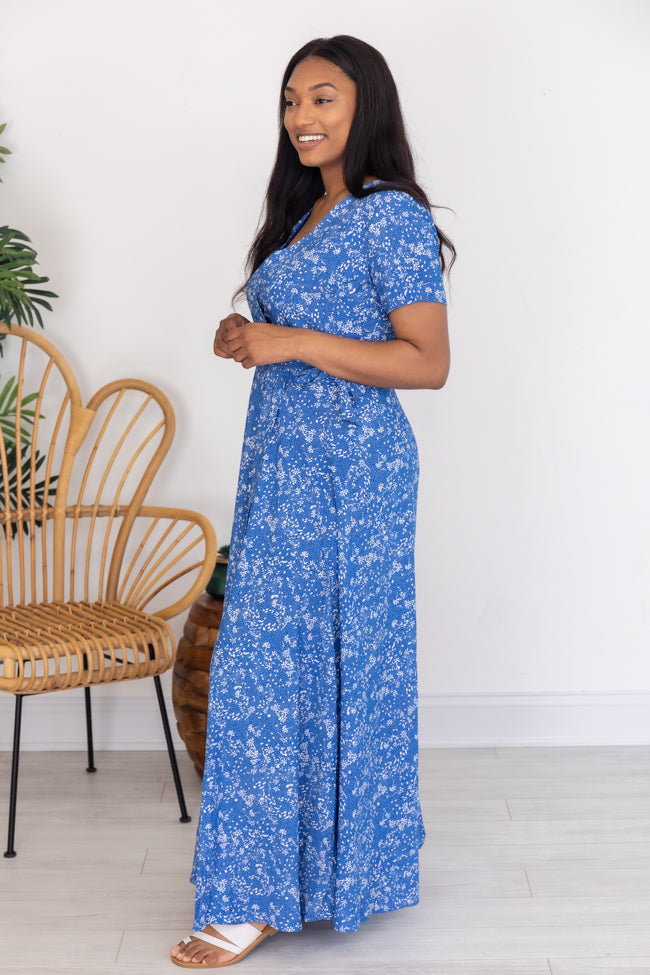 Walking On Water Floral Wrap Blue Maxi Dress