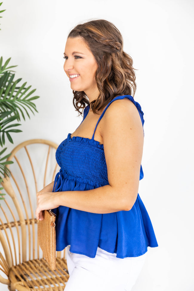 Live Out Your Destiny Smocked Blue Tank