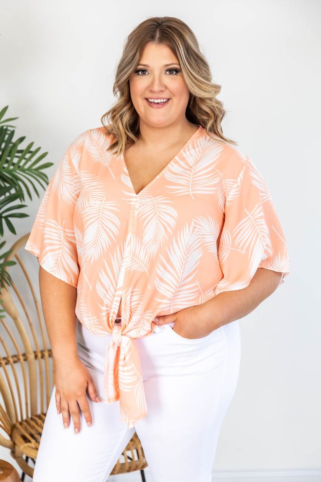 Sun Kissed Love Tie Front Printed Orange Blouse