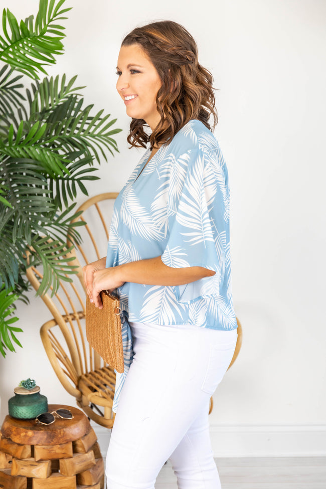 Sun Kissed Love Tie Front Printed Blue Blouse