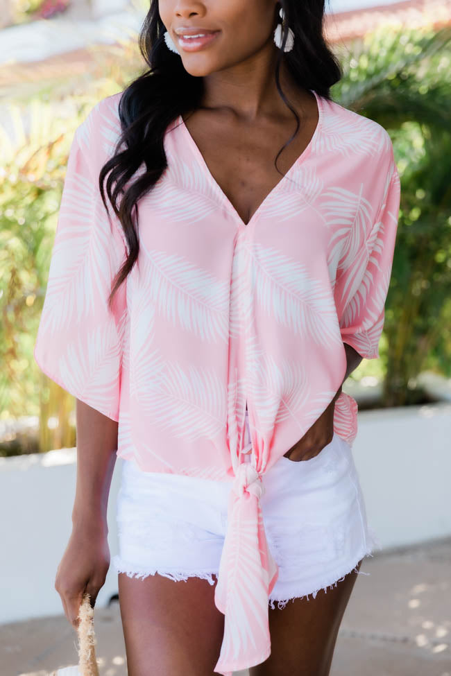 Sun Kissed Love Tie Front Printed Pink Blouse