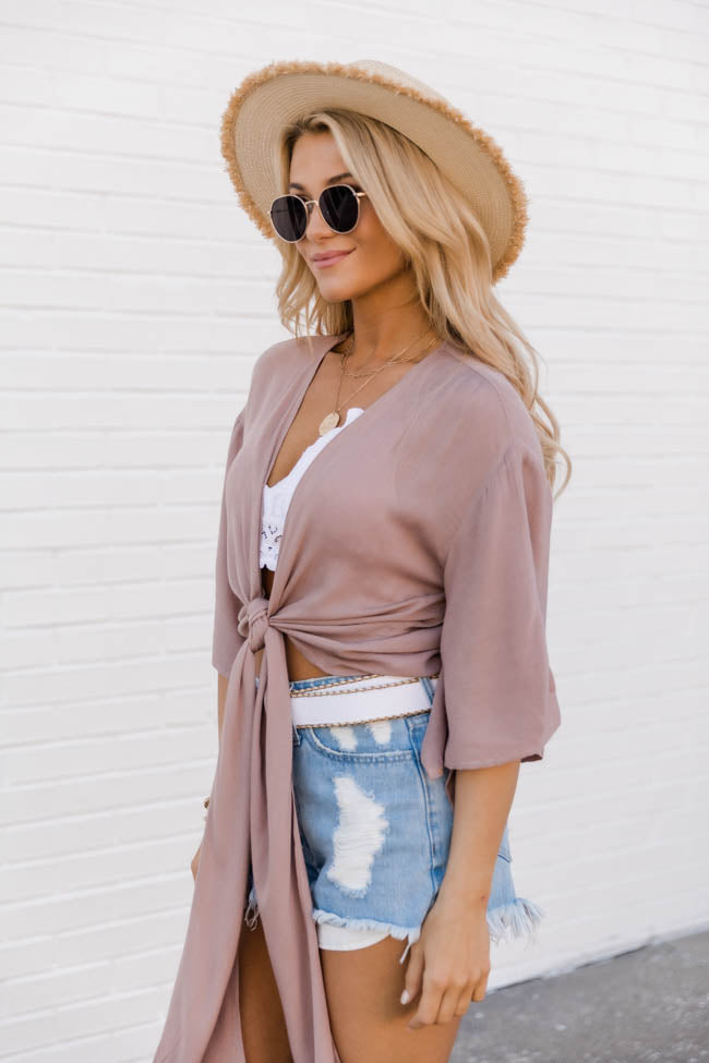 Destined To Meet Tie Front Mocha Blouse