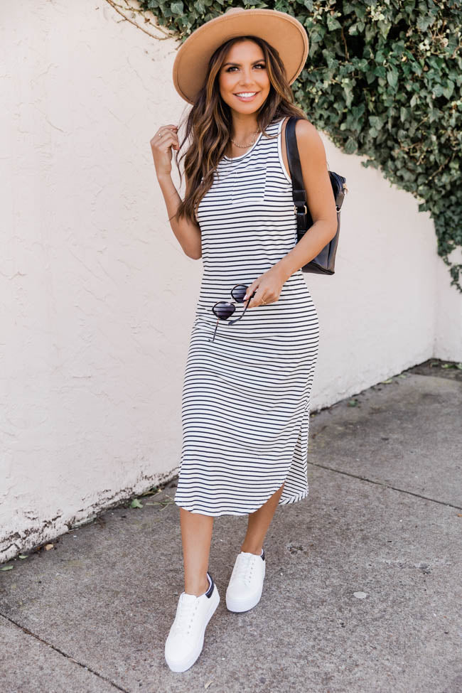 Same Old Love Knit Black/White Striped Midi Dress