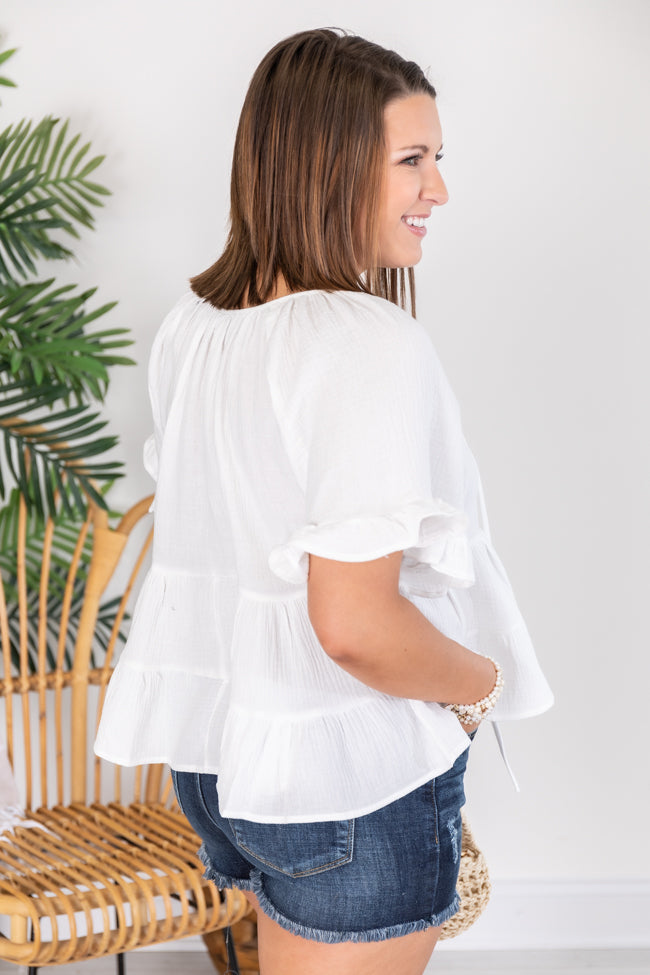 Give Your Attention Ruffle Short Sleeve White Blouse