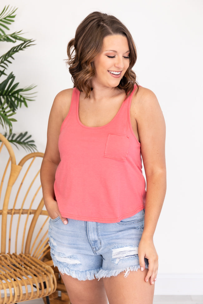 Inner Peace Coral Pocket Tank Top