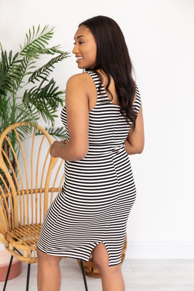 Let's Find Out Striped Bodycon Black Tank Dress