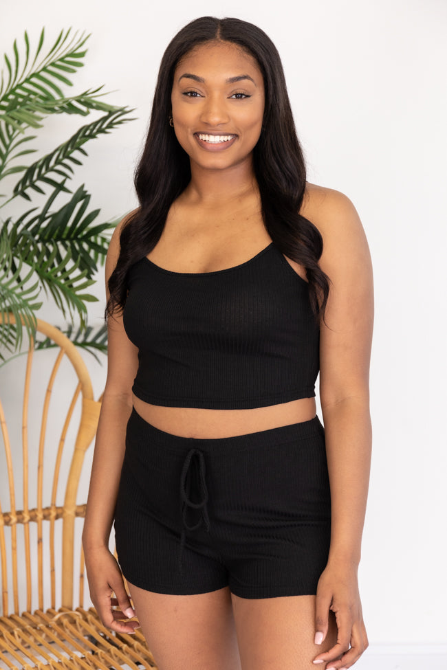 Sole Purpose Black Cropped Tank and Knit Shorts Set
