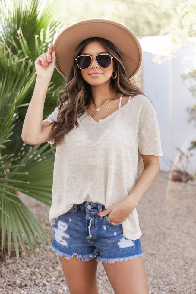 Sunset Daybreak Knit V-Neck Khaki Blouse