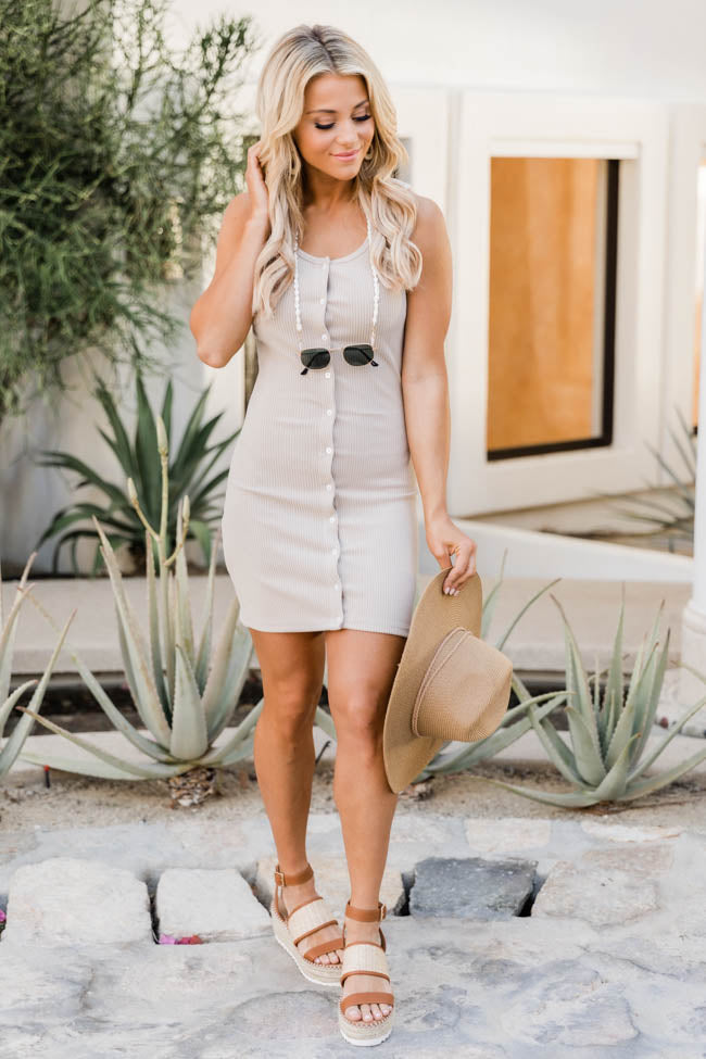 Forget The Rules Button Beige Ribbed Tan Dress