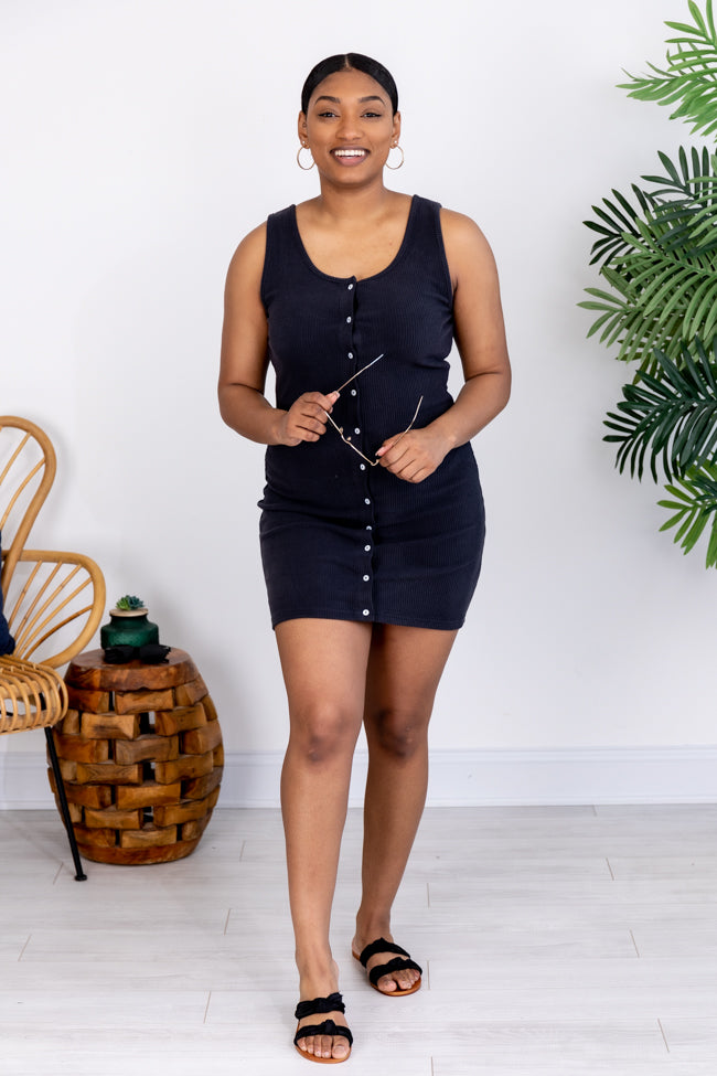 Forget The Rules Button Charcoal Ribbed Tank Dress