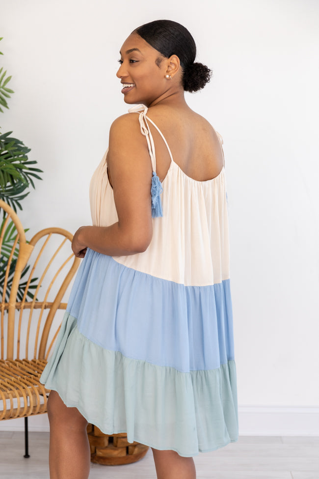 Morning Aura Colorblock Blue/Sage Tie Strap Dress