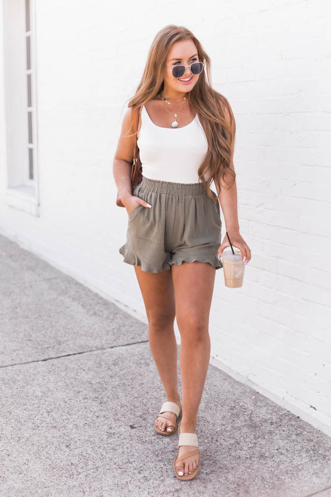 My Next Adventure Olive Ruffle Shorts