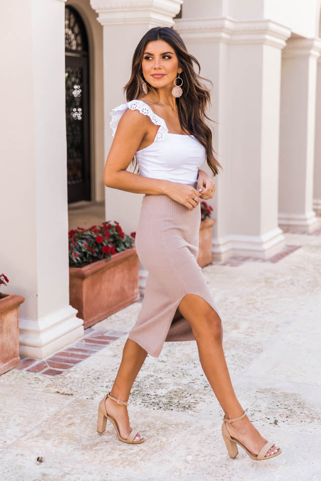 Worth The Time Ribbed Midi Beige Skirt