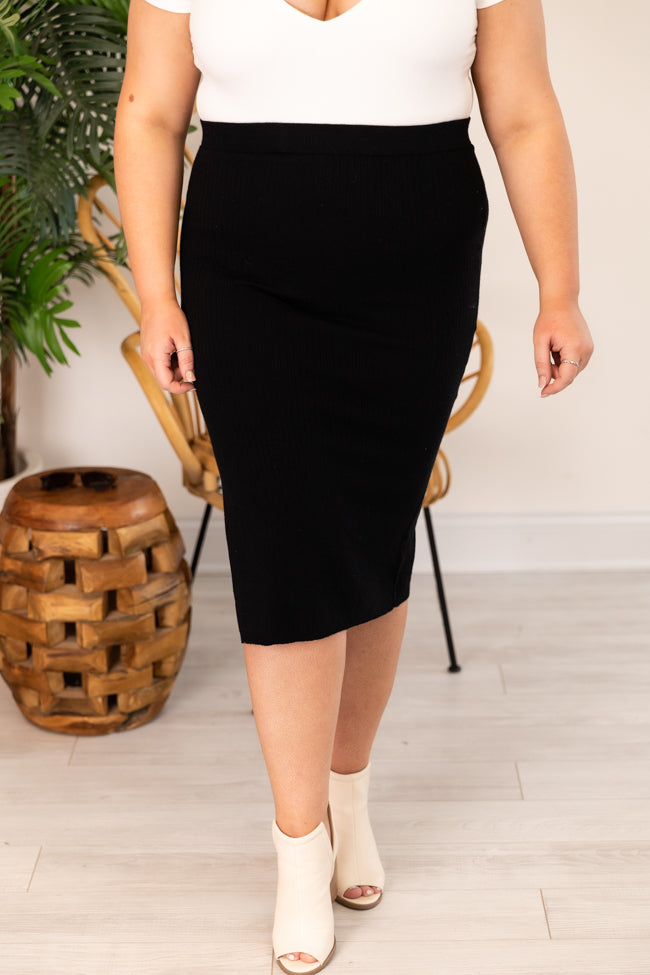 Worth The Time Ribbed Midi Black Skirt