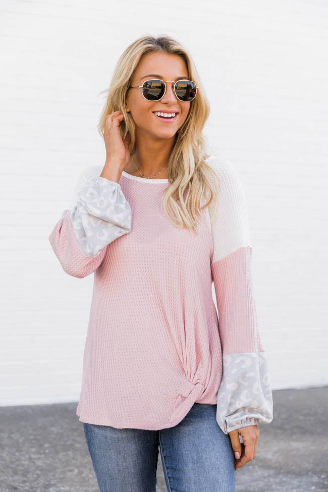Casual Conversation Colorblock Mauve Blouse