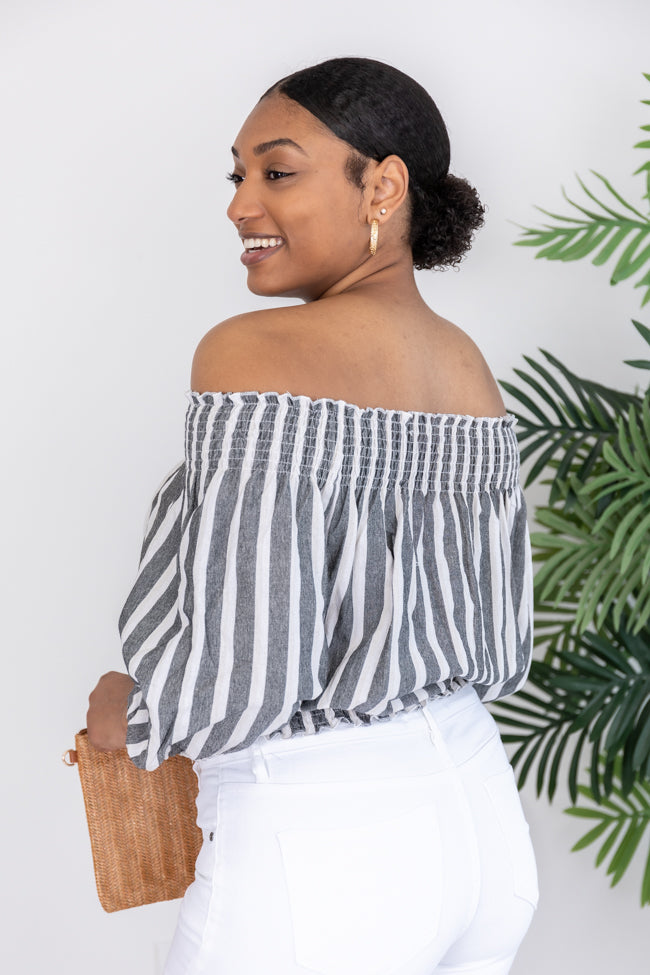 Someday You'll See Stripe Off The Shoulder Black Blouse