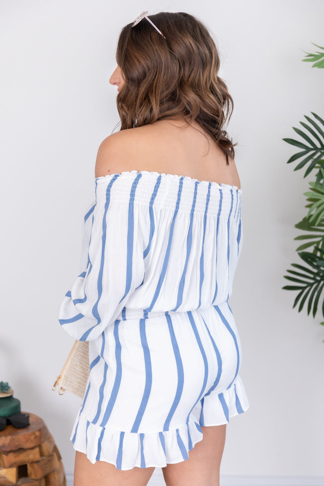 Sophisticated Entrance Striped Blue Romper