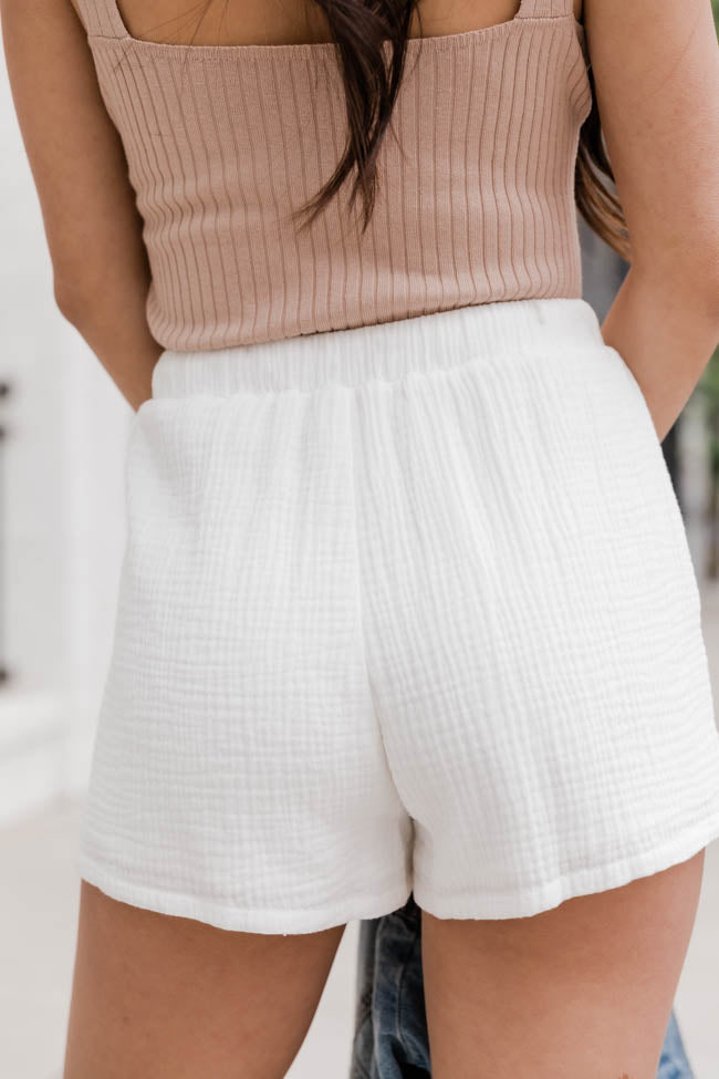 Time Tells All Textured White Shorts