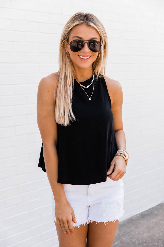 Sunshine State Of Mind Round Hem Black Tank