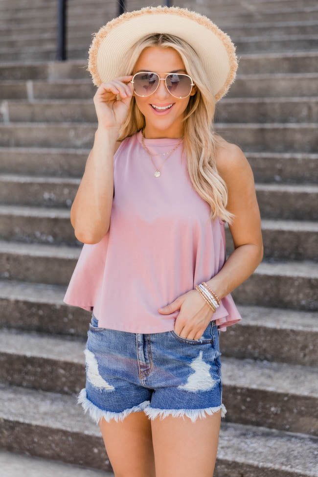 Sunshine State Of Mind Round Hem Pink Tank