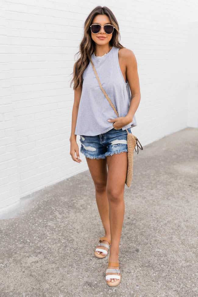 Sunshine State Of Mind Round Hem Grey Tank