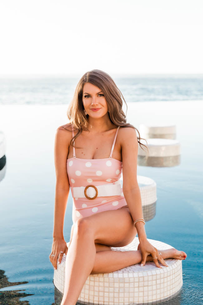 CAITLIN COVINGTON X PINK LILY Miami Square Neck Polka Dot Belted Blush Swimsuit