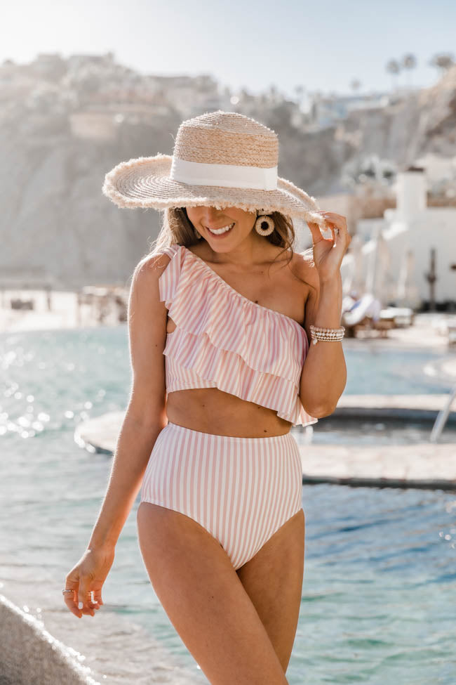 CAITLIN COVINGTON X PINK LILY The Bermuda One Shoulder Striped Blush Ruffle Bikini Top
