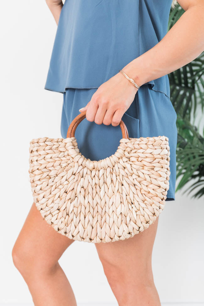 Secret Promises Straw Tan Crossbody Purse