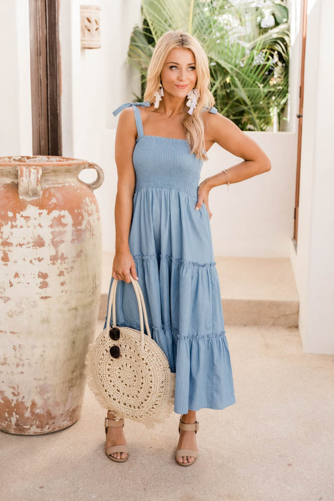 Back Of Your Mind Chambray Smocked Midi Dress