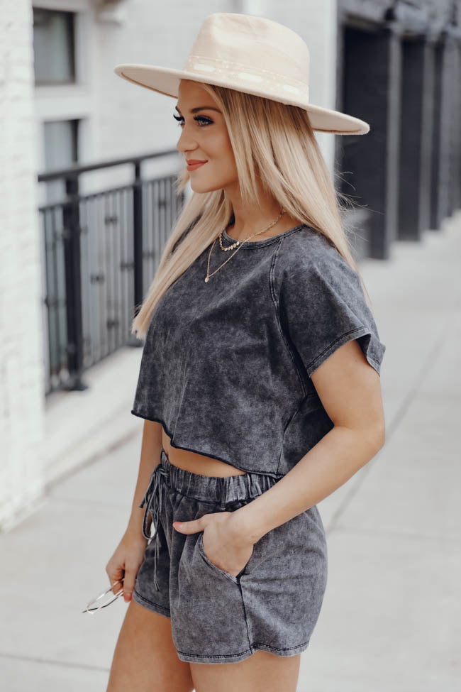 Never Holding Back Acid Wash Charcoal Cropped Blouse
