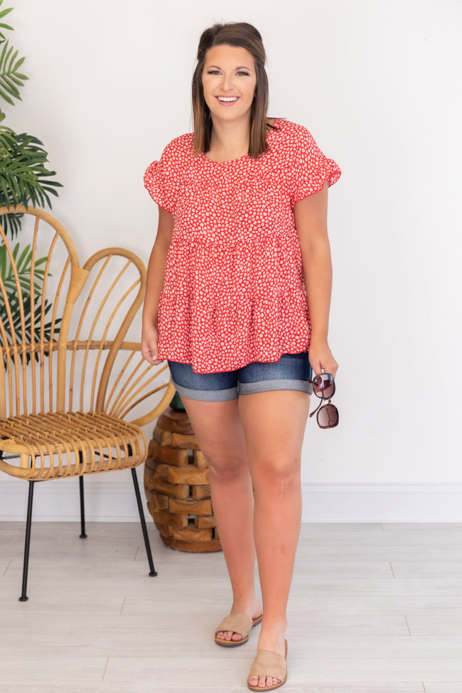 Everlasting Grace Babydoll Floral Red Blouse