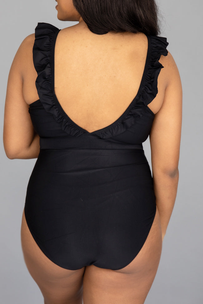 Bungalow Babe Ruffle Black One Piece Swimsuit